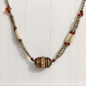 Handmade Metal Beaded Necklace Carved Bead Focal